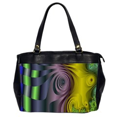 Fractal In Purple Gold And Green Office Handbags (2 Sides)  by Simbadda