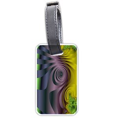 Fractal In Purple Gold And Green Luggage Tags (two Sides)