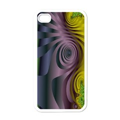 Fractal In Purple Gold And Green Apple Iphone 4 Case (white) by Simbadda