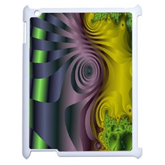 Fractal In Purple Gold And Green Apple Ipad 2 Case (white)
