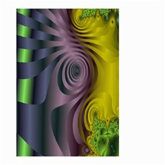 Fractal In Purple Gold And Green Small Garden Flag (two Sides) by Simbadda
