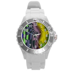Fractal In Purple Gold And Green Round Plastic Sport Watch (l) by Simbadda
