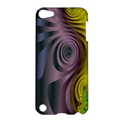Fractal In Purple Gold And Green Apple Ipod Touch 5 Hardshell Case by Simbadda