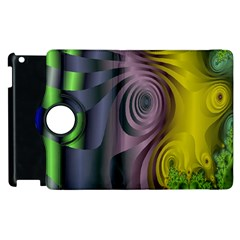 Fractal In Purple Gold And Green Apple Ipad 2 Flip 360 Case by Simbadda