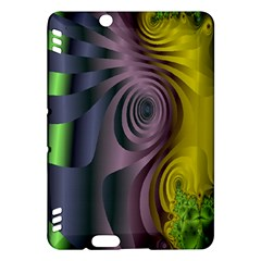Fractal In Purple Gold And Green Kindle Fire HDX Hardshell Case by Simbadda