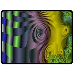 Fractal In Purple Gold And Green Double Sided Fleece Blanket (large)  by Simbadda