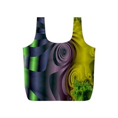 Fractal In Purple Gold And Green Full Print Recycle Bags (s)  by Simbadda