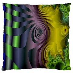 Fractal In Purple Gold And Green Large Flano Cushion Case (two Sides)