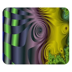 Fractal In Purple Gold And Green Double Sided Flano Blanket (small)  by Simbadda