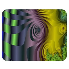 Fractal In Purple Gold And Green Double Sided Flano Blanket (medium)  by Simbadda