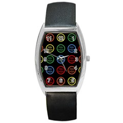 Happy Birthday Colorful Wallpaper Background Barrel Style Metal Watch by Simbadda