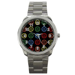 Happy Birthday Colorful Wallpaper Background Sport Metal Watch by Simbadda