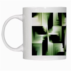 Green Black And White Abstract Background Of Squares White Mugs by Simbadda