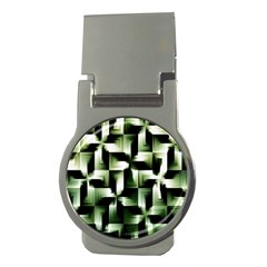 Green Black And White Abstract Background Of Squares Money Clips (round)  by Simbadda
