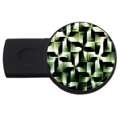 Green Black And White Abstract Background Of Squares Usb Flash Drive Round (2 Gb) by Simbadda