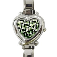 Green Black And White Abstract Background Of Squares Heart Italian Charm Watch by Simbadda