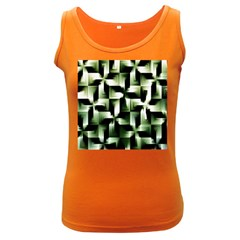 Green Black And White Abstract Background Of Squares Women s Dark Tank Top by Simbadda