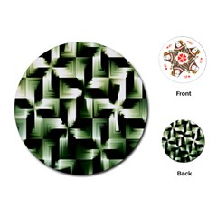 Green Black And White Abstract Background Of Squares Playing Cards (round)  by Simbadda