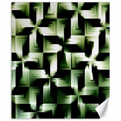 Green Black And White Abstract Background Of Squares Canvas 8  X 10  by Simbadda