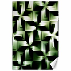 Green Black And White Abstract Background Of Squares Canvas 24  X 36  by Simbadda