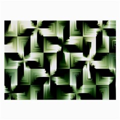 Green Black And White Abstract Background Of Squares Large Glasses Cloth by Simbadda