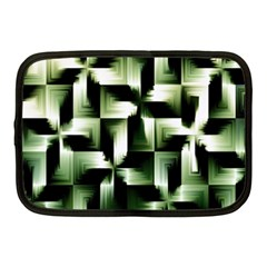Green Black And White Abstract Background Of Squares Netbook Case (medium)  by Simbadda