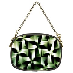 Green Black And White Abstract Background Of Squares Chain Purses (one Side)  by Simbadda