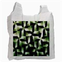 Green Black And White Abstract Background Of Squares Recycle Bag (one Side) by Simbadda