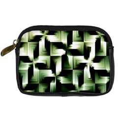 Green Black And White Abstract Background Of Squares Digital Camera Cases by Simbadda