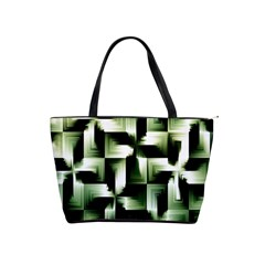 Green Black And White Abstract Background Of Squares Shoulder Handbags by Simbadda