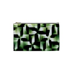 Green Black And White Abstract Background Of Squares Cosmetic Bag (small)  by Simbadda