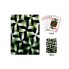 Green Black And White Abstract Background Of Squares Playing Cards (mini)  by Simbadda