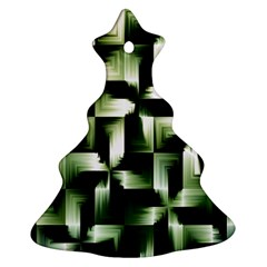 Green Black And White Abstract Background Of Squares Christmas Tree Ornament (two Sides) by Simbadda