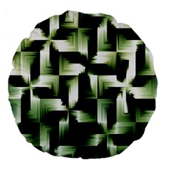 Green Black And White Abstract Background Of Squares Large 18  Premium Round Cushions by Simbadda