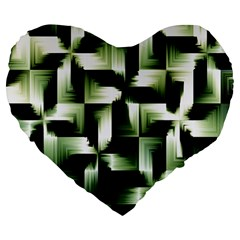 Green Black And White Abstract Background Of Squares Large 19  Premium Heart Shape Cushions by Simbadda