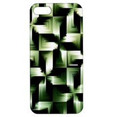 Green Black And White Abstract Background Of Squares Apple Iphone 5 Hardshell Case With Stand by Simbadda