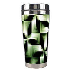 Green Black And White Abstract Background Of Squares Stainless Steel Travel Tumblers