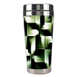 Green Black And White Abstract Background Of Squares Stainless Steel Travel Tumblers Center