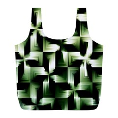 Green Black And White Abstract Background Of Squares Full Print Recycle Bags (l)  by Simbadda