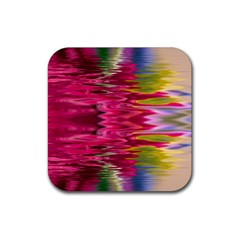Abstract Pink Colorful Water Background Rubber Square Coaster (4 Pack)  by Simbadda