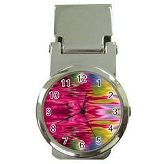 Abstract Pink Colorful Water Background Money Clip Watches by Simbadda