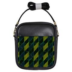 Futuristic Dark Pattern Girls Sling Bags by dflcprints