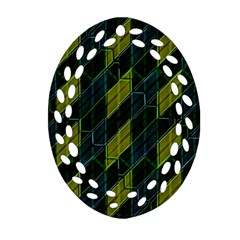 Futuristic Dark Pattern Oval Filigree Ornament (two Sides) by dflcprints