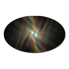 Colorful Waves With Lights Abstract Multicolor Waves With Bright Lights Background Oval Magnet by Simbadda