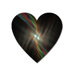 Colorful Waves With Lights Abstract Multicolor Waves With Bright Lights Background Heart Magnet by Simbadda