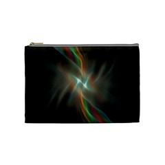 Colorful Waves With Lights Abstract Multicolor Waves With Bright Lights Background Cosmetic Bag (medium)  by Simbadda
