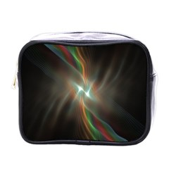 Colorful Waves With Lights Abstract Multicolor Waves With Bright Lights Background Mini Toiletries Bags by Simbadda
