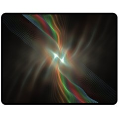 Colorful Waves With Lights Abstract Multicolor Waves With Bright Lights Background Fleece Blanket (medium)  by Simbadda