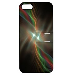 Colorful Waves With Lights Abstract Multicolor Waves With Bright Lights Background Apple Iphone 5 Hardshell Case With Stand by Simbadda