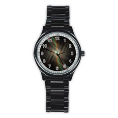Colorful Waves With Lights Abstract Multicolor Waves With Bright Lights Background Stainless Steel Round Watch